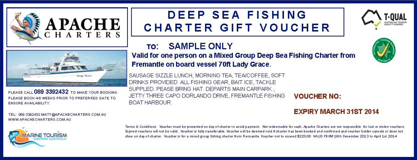 Deep Sea Fishing - Apache Charters Sample Gift Vouchers